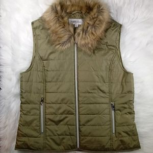 Green Packable Faux Fur Collared Puffer Vest XL